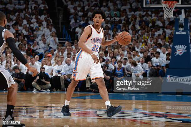 Cameron Payne of the Oklahoma City Thunder dribbles the ball against the San Antonio Spurs in Game Four of the Western Conference Semifinals during...