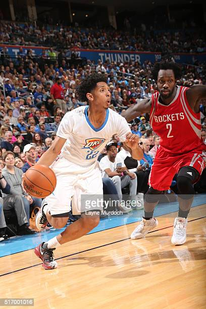Cameron Payne of the Oklahoma City Thunder drives to the basket against Patrick Beverley of the Houston Rockets on March 22 2016 at Chesapeake Energy...