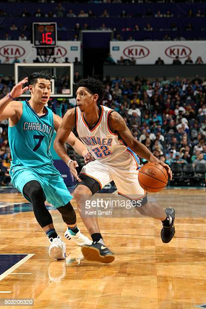 Cameron Payne of the Oklahoma City Thunder drives to the basket during the game against the Charlotte Hornets on January 2 2016 at Time Warner Cable...