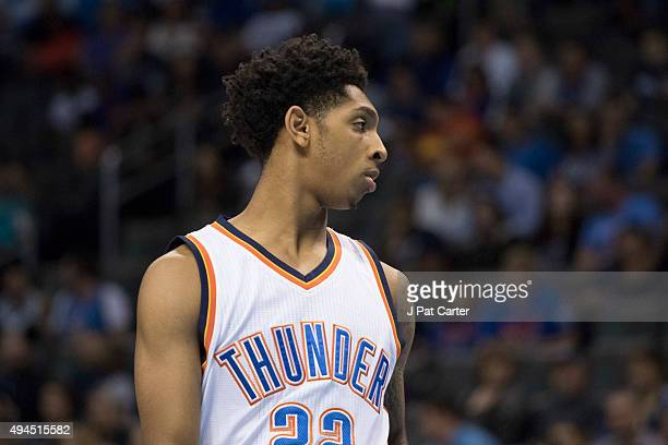 Cameron Payne of the Oklahoma City Thunder during the fourth quarter of a NBA preseason game against the Denver Nuggets at the Chesapeake Energy...