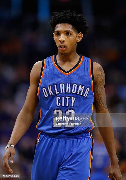 Cameron Payne of the Oklahoma City Thunder during the NBA game against the Phoenix Suns at Talking Stick Resort Arena on February 8 2016 in Phoenix...