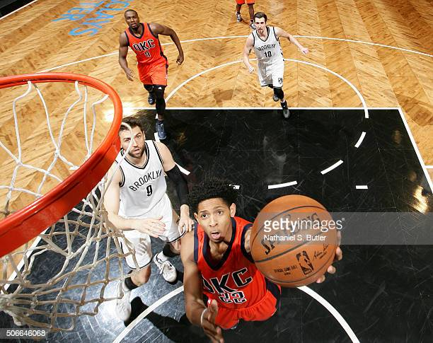 Cameron Payne of the Oklahoma City Thunder goes for the layup during the game against the Brooklyn Nets on January 24 2016 at Barclays Center in...