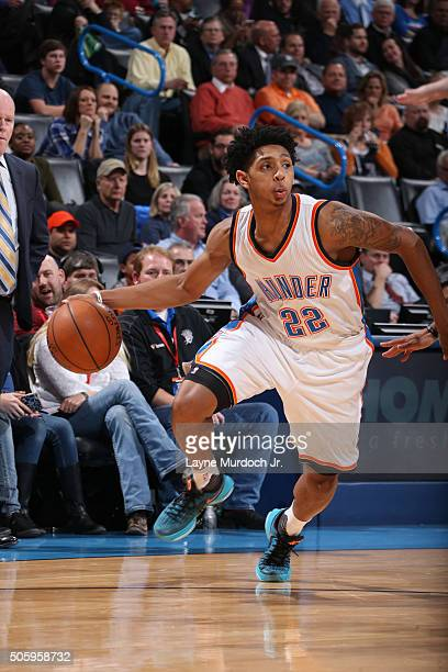 Cameron Payne of the Oklahoma City Thunder handles the ball against the Charlotte Hornets on January 20 2016 at the Chesapeake Energy Arena in...