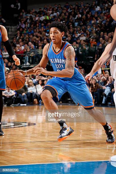 Cameron Payne of the Oklahoma City Thunder handles the ball against the Dallas Mavericks on January 22 2016 at the American Airlines Center in Dallas...