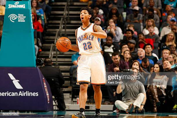 Cameron Payne of the Oklahoma City Thunder handles the ball during the game against the Charlotte Hornets on January 2 2016 at Time Warner Cable...