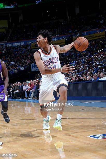 Cameron Payne of the Oklahoma City Thunder handles the ball during the game against the Sacramento Kings on January 4 2016 at Chesapeake Energy Arena...