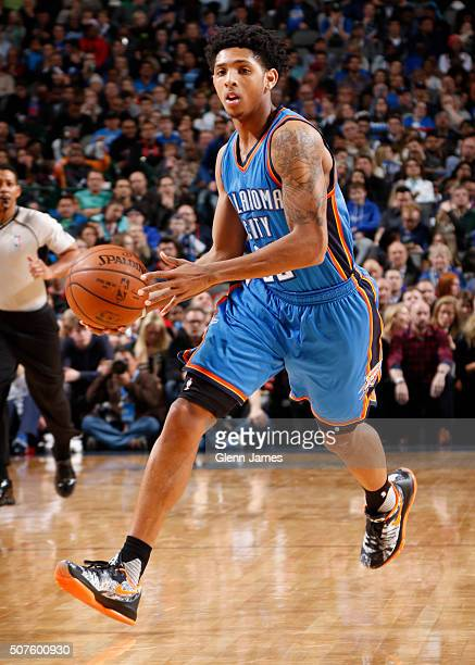 Cameron Payne of the Oklahoma City Thunder handles the ball during the game against the Dallas Mavericks on January 22 2016 at the American Airlines...
