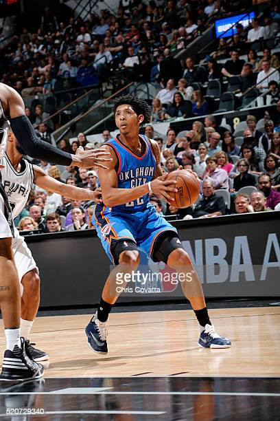 Cameron Payne of the Oklahoma City Thunder handles the ball during the game against the San Antonio Spurs on April 12 2016 at the ATT Center in San...