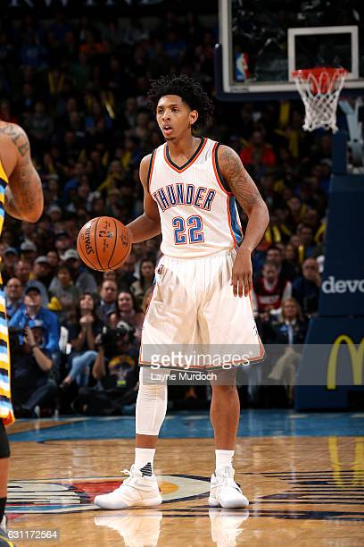 Cameron Payne of the Oklahoma City Thunder handles the ball during the game against the Denver Nuggets on January 7 2017 at Chesapeake Energy Arena...