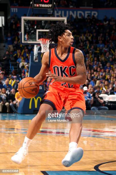 Cameron Payne of the Oklahoma City Thunder handles the ball during the game against the Portland Trail Blazers on February 5 2017 at Chesapeake...