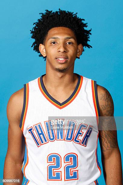 Cameron Payne of the Oklahoma City Thunder poses for a head shot during 2016 NBA Media Day on September 23 2016 at the Chesapeake Energy Arena in...