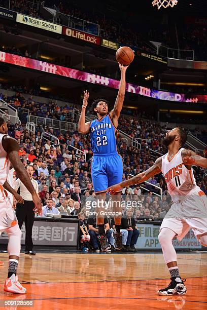Cameron Payne of the Oklahoma City Thunder shoots against the Phoenix Suns on February 8 2016 at Talking Stick Resort Arena in Phoenix Arizona NOTE...