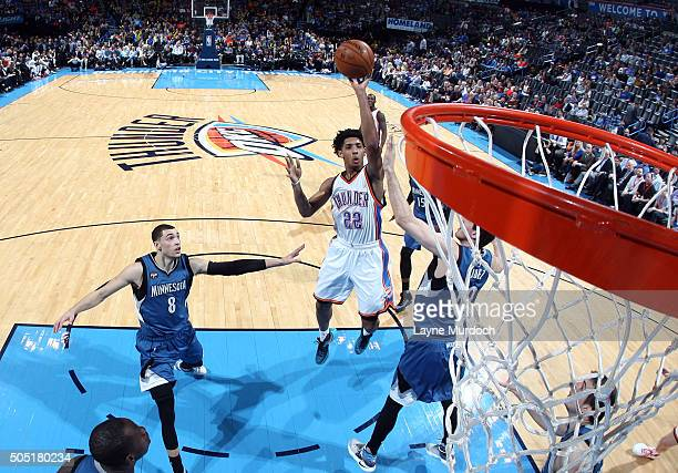 Cameron Payne of the Oklahoma City Thunder shoots the ball during the game against the Minnesota Timberwolves on January 15 2016 at Chesapeake Energy...