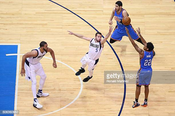 Cameron Payne of the Oklahoma City Thunder takes a shot against the Dallas Mavericks in the second half at American Airlines Center on January 22...