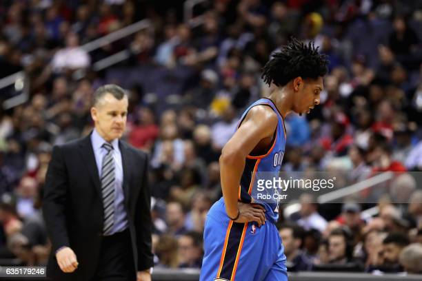 Cameron Payne of the Oklahoma City Thunder walks off the court during a timeout in the second half against the Washington Wizards at Verizon Center...