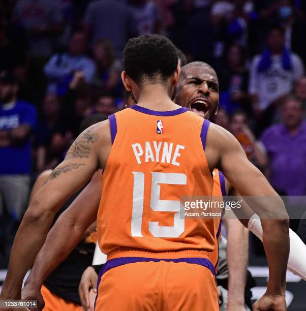 Cameron Payne of the Phoenix Suns and Chris Paul of the Phoenix Suns yell during the game against the LA Clippers during Game 6 of the Western...