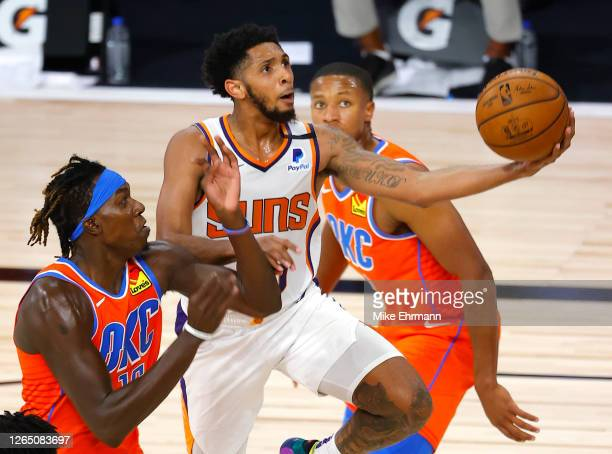 Cameron Payne of the Phoenix Suns goes up for a shot against Kevin Hervey of the Oklahoma City Thunder during the fourth quarter at The Field House...
