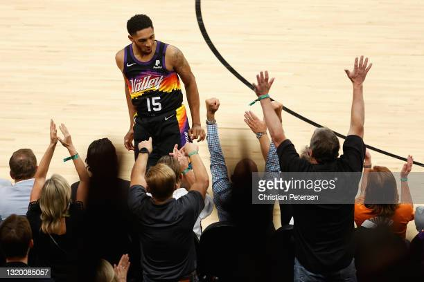 Cameron Payne of the Phoenix Suns reacts to a three-point shot against the Los Angeles Lakers during the second half of Game Two of the Western...