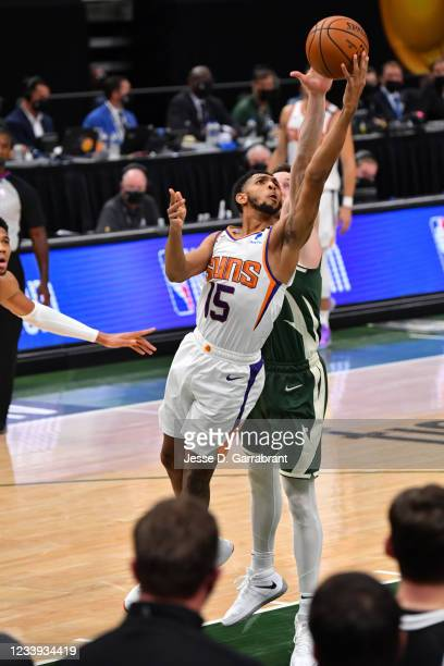 Cameron Payne of the Phoenix Suns shoots the ball against the Milwaukee Bucks during Game Three of the 2021 NBA Finals on July 11, 2021 at Fiserv...