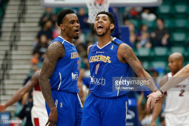 Cameron Payne of the Texas Legends reacts with Antonius Cleveland of the Texas Legends to making a three point basket during the fourth quarter...