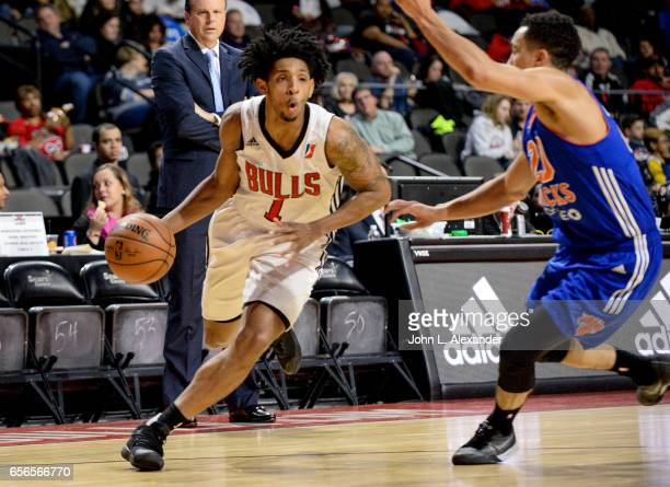 Cameron Payne of the Windy City Bulls dribble the ball against the Westchester Knicks on March 21 2017 at the Sears Centre Arena in Hoffman Estates...