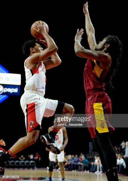 Cameron Payne of the Windy City Bulls drive to the basket against the Canton Charge on February 09 2018 at the Sears Centre Arena in Hoffman Estates...