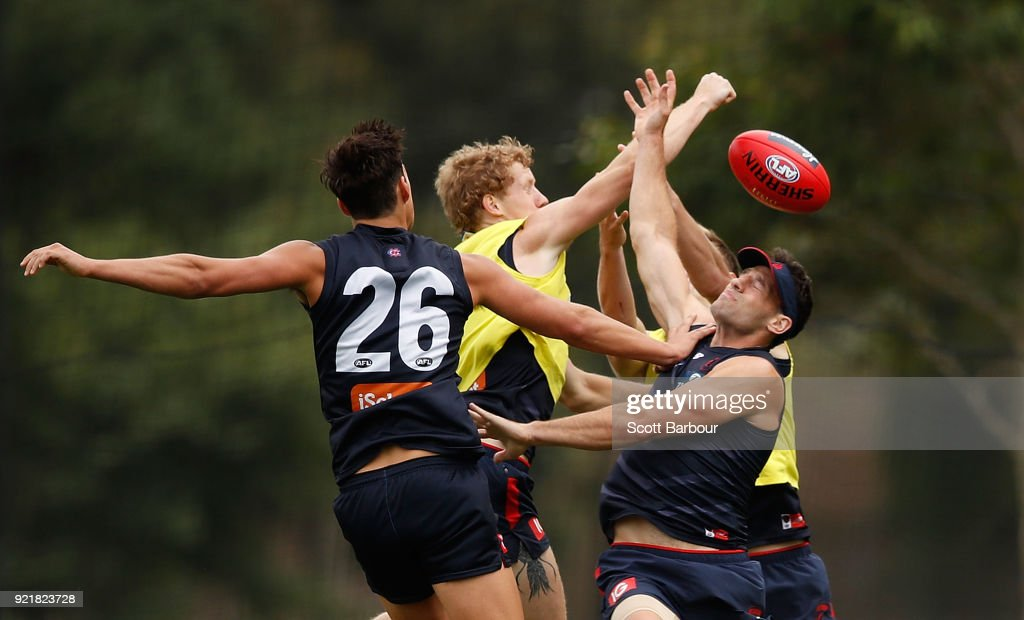 Cameron Pedersen competes for the ball during a Melbourne Demons AFL training session at Gosch's Paddock on February 21, 2018 in Melbourne, Australia.