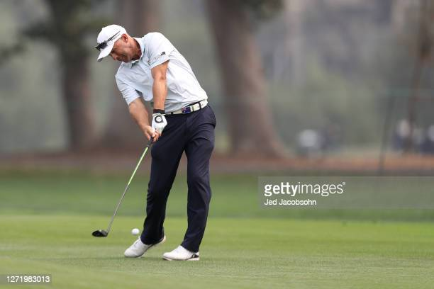 Cameron Percy hits his second shot on the 18th hole during round two of the Safeway Open at Silverado Resort on September 11, 2020 in Napa,...