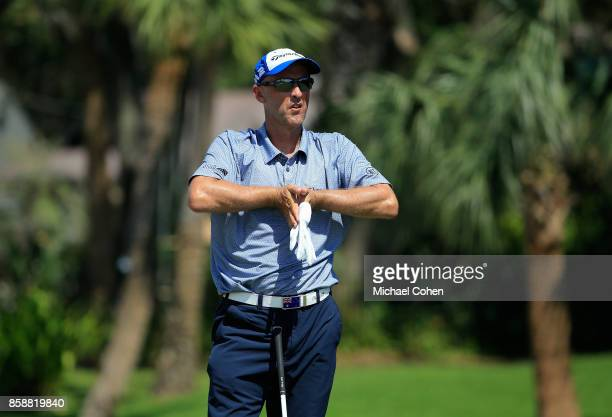 Cameron Percy of Australia prepares to hit a drive during the first round of the Webcom Tour Championship held at Atlantic Beach Country Club on...