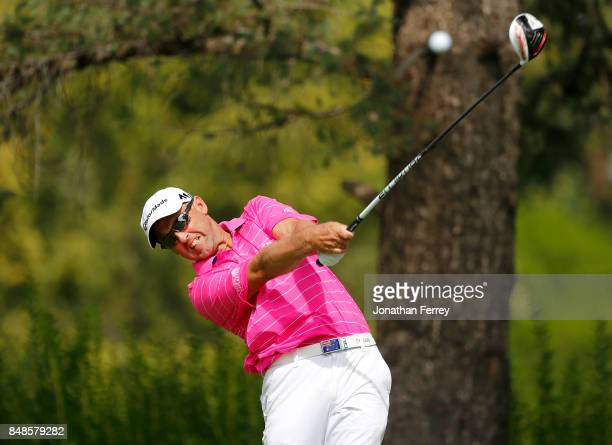 Cameron Percy of Australia tees off on the 2nd hole during the final round of the Webcom Tour Albertson's Boise Open at Hillcrest Country Club on...