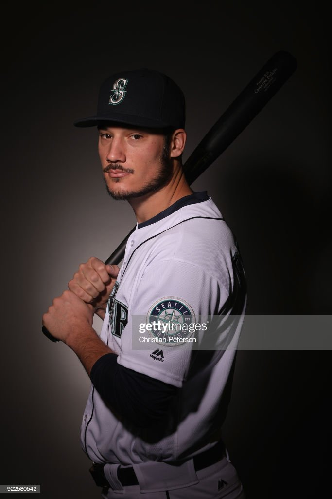 Cameron Perkins #26 of the Seattle Mariners poses for a portrait during photo day at Peoria Stadium on February 21, 2018 in Peoria, Arizona.