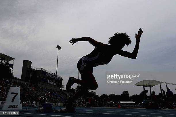Cameron Pettigrew competes in the Women's Junior 400 Meter Dash on day two of the 2013 USA Outdoor Track & Field Championships at Drake Stadium on...