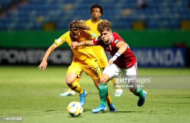 Cameron Peupion of Australia challenges David Laszlo of Hungary during the FIFA U17 World Cup Brazil 2019 Group B match between Australia and Hungary...