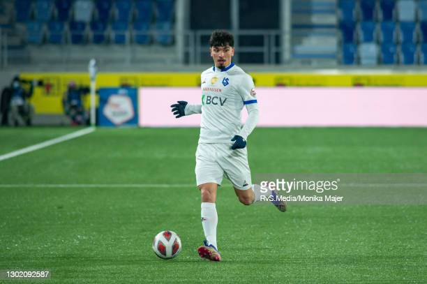 Cameron Puertas of FC Lausanne-Sport in action during the Swiss Super League match between FC Lausanne-Sport and Servette FC at Stade de la Tuiliere...