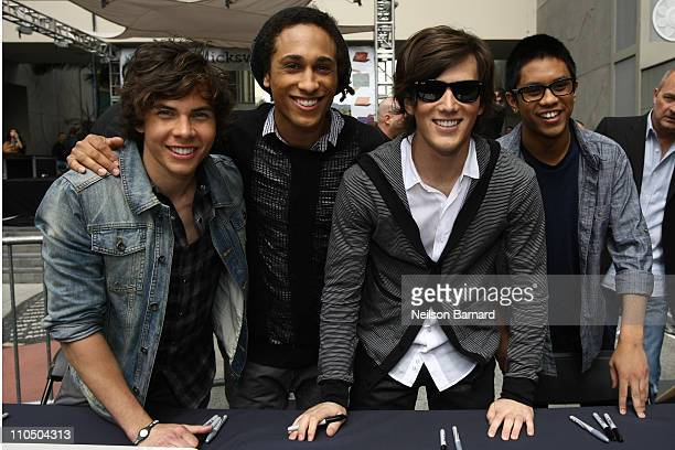 Cameron Quiseng, Nathan Darmody, Zachary Porter and Michael Martinez of Allstar Weekend attend Dell's SWITCH by Design Studio laptop lid concert at...