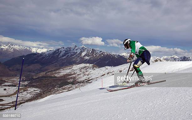 Cameron RahlesRahbula Australia in action during the Men's Slalom Standing Adaptive Slalom competition at Coronet Peak New Zealand during the Winter...