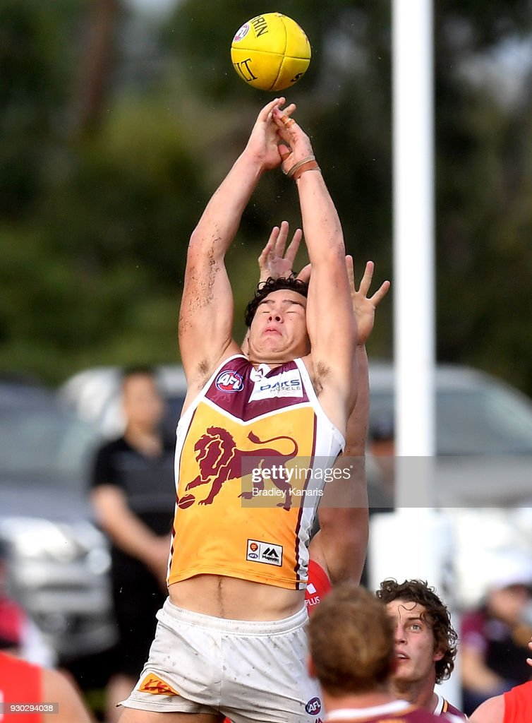 Cameron Rayner of the Lions competes for the ball during the JLT Community Series AFL match between the Gold Coast Suns and the Brisbane Lions at Fankhauser Reserve on March 11, 2018 in Brisbane, Australia.