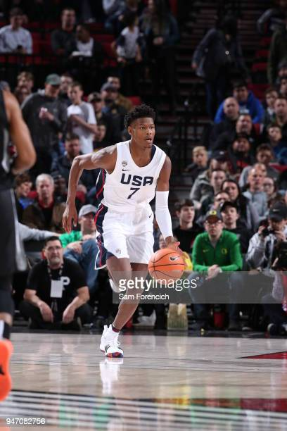 Cameron Reddish of Team USA dribbles the ball against Team World during the Nike Hoop Summit on April 13 2018 at the MODA Center Arena in Portland...