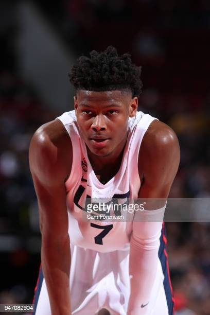 Cameron Reddish of Team USA looks on during the game against Team World during the Nike Hoop Summit on April 13 2018 at the MODA Center Arena in...