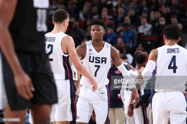 Cameron Reddish of Team USA shakes teammates hands during the game against Team World during the Nike Hoop Summit on April 13 2018 at the MODA Center...