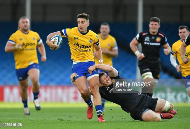 Cameron Redpath of Bath is tackled by Sam Simmonds of Exeter Chiefs during the Gallagher Premiership Rugby first semi-final match between Exeter...