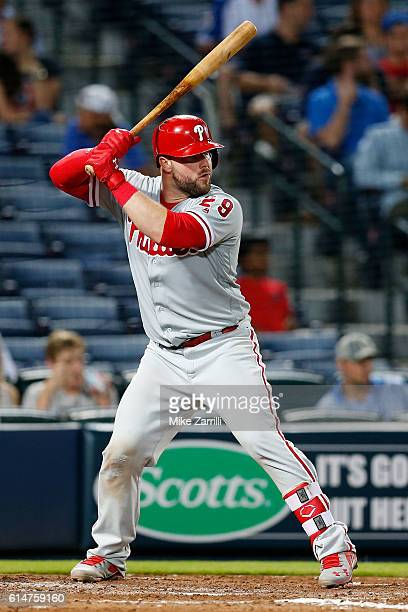 Cameron Rupp of the Philadelphia Phillies bats during the game against the Atlanta Braves at Turner Field on May 11 2016 in Atlanta Georgia