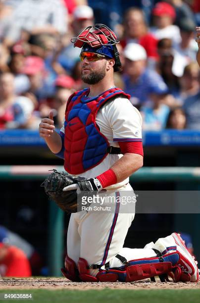 Cameron Rupp of the Philadelphia Phillies in action against the Oakland Athletics during a game at Citizens Bank Park on September 17 2017 in...