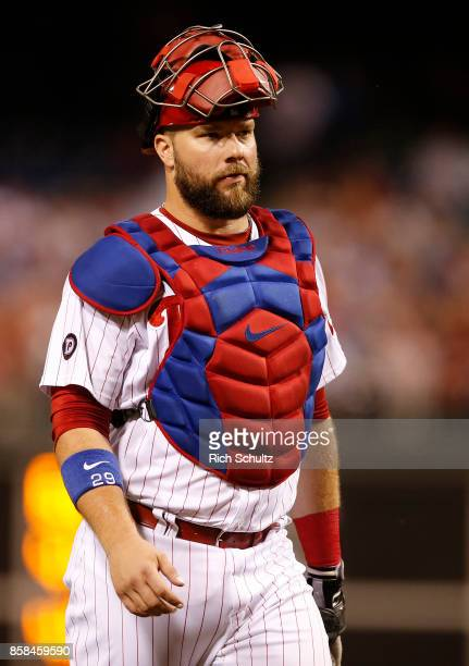 Cameron Rupp of the Philadelphia Phillies in action against the Washington Nationals during a game at Citizens Bank Park on September 26 2017 in...