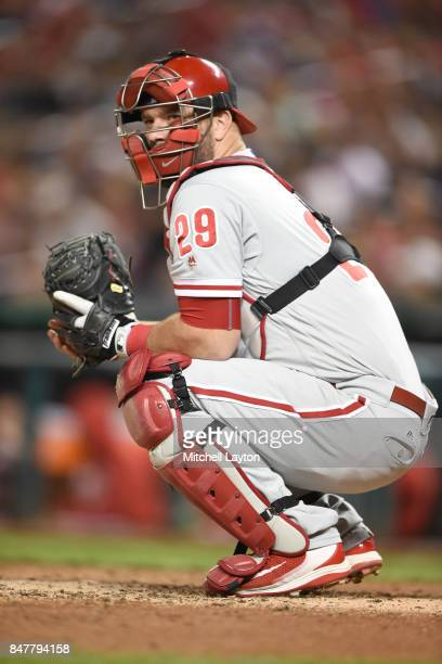 Cameron Rupp of the Philadelphia Phillies in position during a baseball game against the Washington Nationals at Nationals Park on September 9 2017...