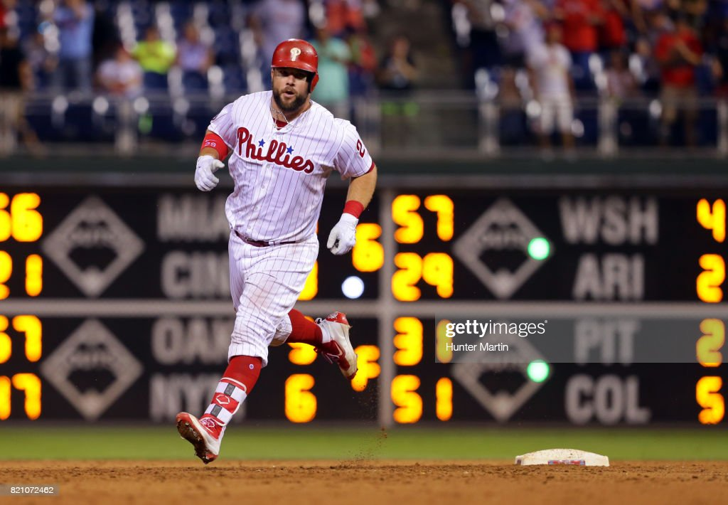 Cameron Rupp #29 of the Philadelphia Phillies rounds the bases after hitting a three-run home run in the eighth inning during a game against the Milwaukee Brewers at Citizens Bank Park on July 22, 2017 in Philadelphia, Pennsylvania. The Brewers won 9-8.