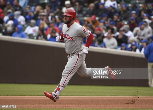 Cameron Rupp of the Philadelphia Phillies runs the bases after hitting a home run against the Chicago Cubs during the eighth inning on May 4 2017 at...