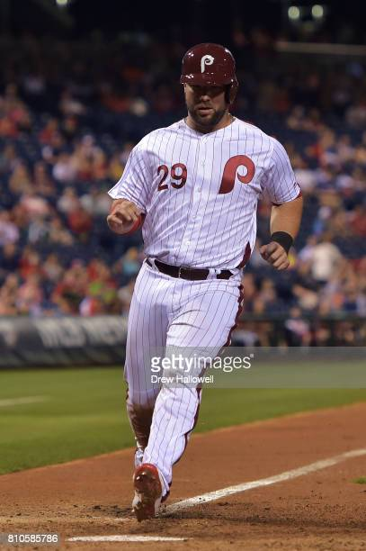 Cameron Rupp of the Philadelphia Phillies scores a run in the seventh inning against the San Diego Padres at Citizens Bank Park on July 7 2017 in...