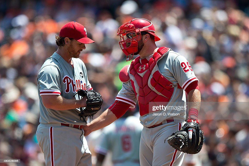 Cameron Rupp #29 of the Philadelphia Phillies talks to Chad Billingsley #38 during the sixth inning against the San Francisco Giants at AT&T Park on July 12, 2015 in San Francisco, California. The San Francisco Giants defeated the Philadelphia Phillies 4-2.