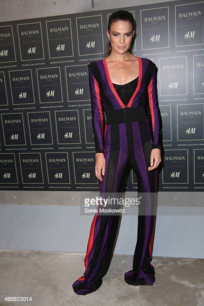 Cameron Russell arrives at the BALMAIN X HM collection launch event at 23 Wall Street on October 20 2015 in New York City